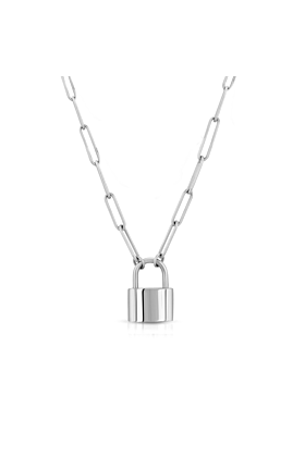 18kt White Gold Plated Padlock Necklace