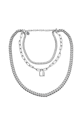 Silver Triple Layer Chain Necklace