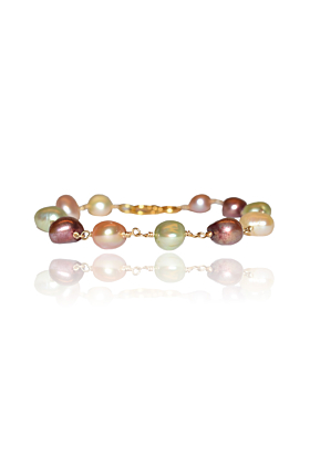 Gold Plated Silver & Freshwater Pearls in Different Colors Bracelet