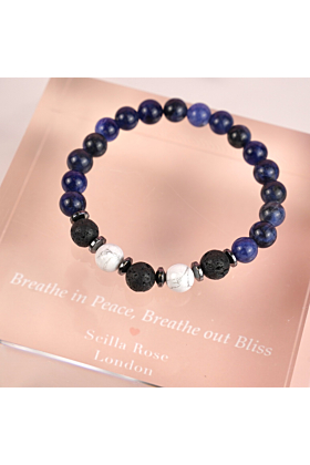 Healing Diffuser Bracelet with Blue Sodalite, Howlite and Lava Stones