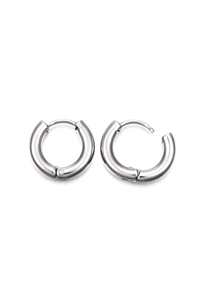 Can You Click It Silver Plated Medium Hoop Earrings