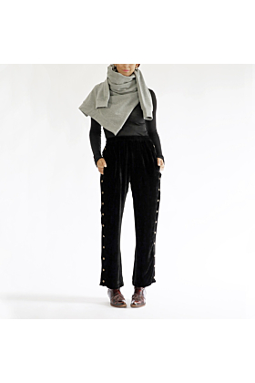 Trackpants Gummi of Black Silk Velvet