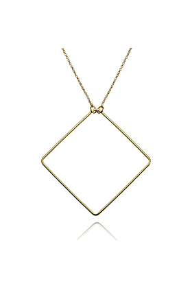 14kt Gold Plated Long Square Pendant Necklace