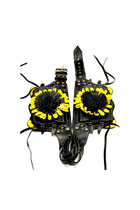 Black and Yellow Leather Sunflower Hip Belt