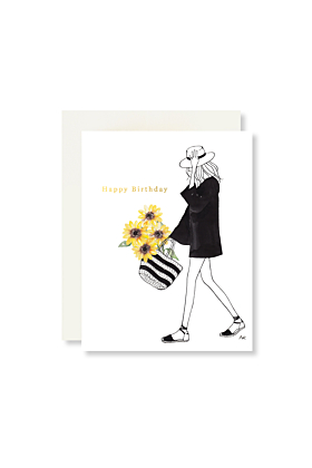 Sunflower Girl with Gold Foil Birthday Card