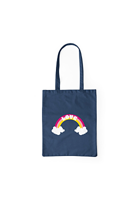 Navy Love Cotton Tote Bag