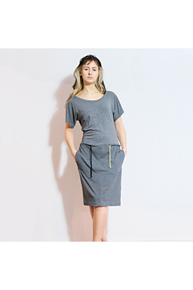 Tie Waist Jersey Dress Grey