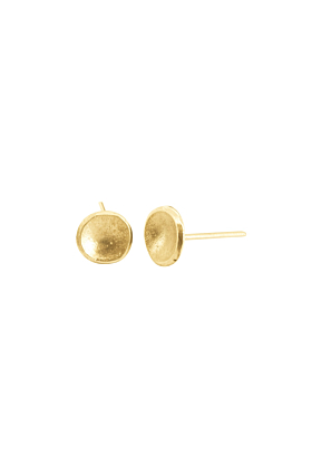 Titan Gold Concave Disc Stud Earrings