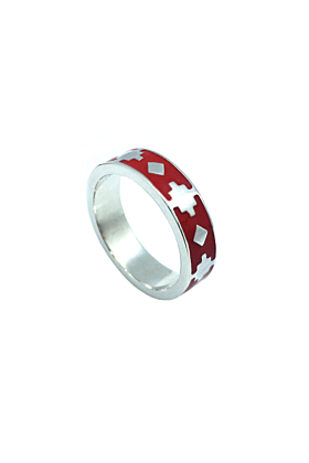 Thathu Silver Red Enamel Band Ring