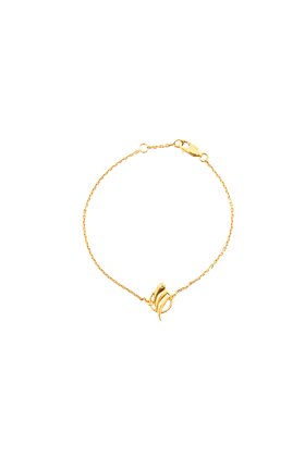 Yellow Gold Plated Silver Tulipa White Diamond Vermeil Bracelet