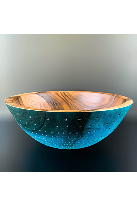 Turquoise Dyed Walnut Hand Turned and Carved Le Grand Bleu Bowl