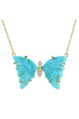 14kt Yellow Gold Turquoise Butterfly Necklace With Diamonds