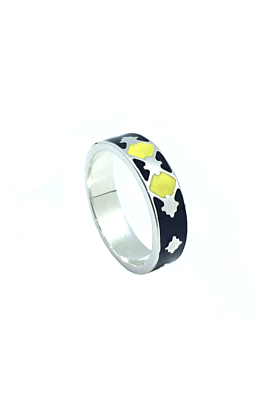 Thathu Silver Black and Yellow Enamel Band Ring