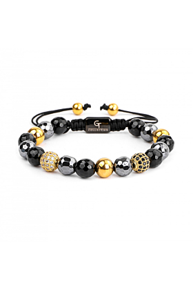 Gold & Mixed Agate, Hematite Women's Beaded Bracelet