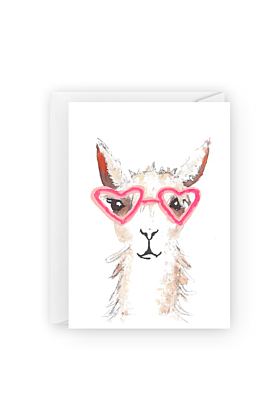 Alpaca Heart Glasses Valentines Day Greeting Card