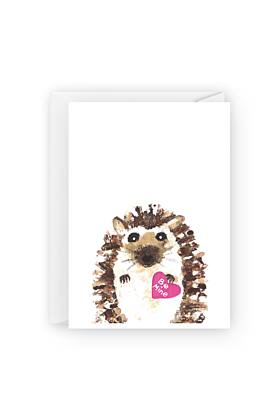 Be Mine Hedgehog Valentines Day Greeting Card