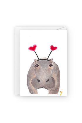 Hippo Heart Heartband Valentines Day Greeting Card