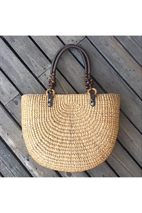 Water Hyacinth Half Moon Straw Bag