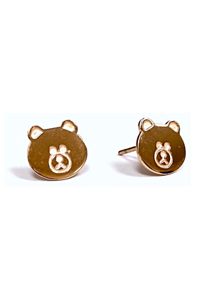 Rose Gold Plated Stainless Steel Teddy Bear Boogie Lobes Earrings