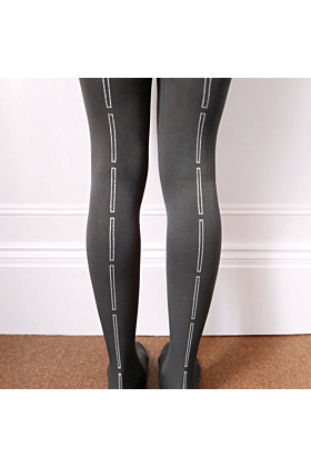 Grey Rectangle Print Tights | 100 Denier