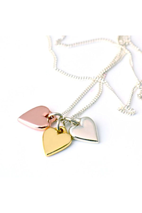Sterling Silver & Gold Trio of Hearts Necklace