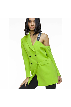 FKNS Neon-Green One Shoulder Blazer