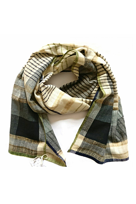 Organic Cotton Blue and Ivory Fusion Scarf