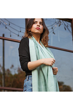 Green Muslin Cotton Scarf