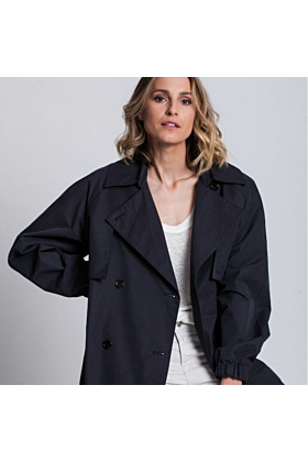 Woman Trench Coat Elegance In Dark Navy