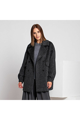 SALE Wool Coat Gentle In Grey Mel