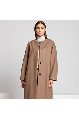 Wool Coat Melton In Beige