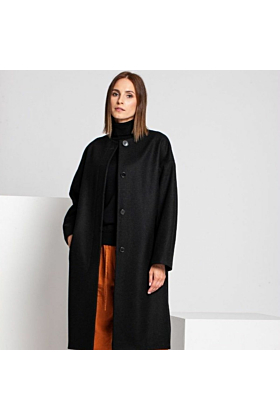 SALE Wool Coat Melton In Black