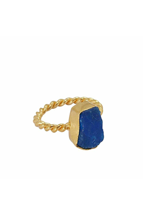 18kt Yellow Gold Plated & Raw Apatite Stacking Ring