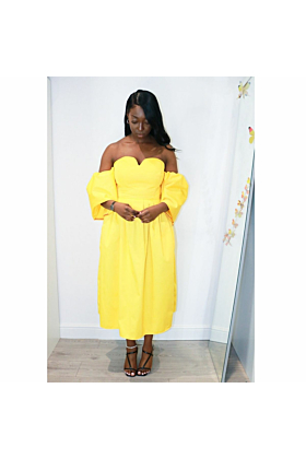 Sweetheart Yellow Cotton Midi Dress