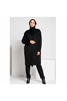SALE Fine Wool Coat In Black