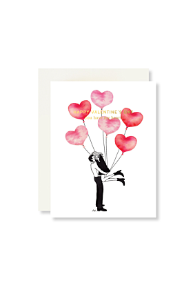 Balloons with Gold Foil Valentine Card