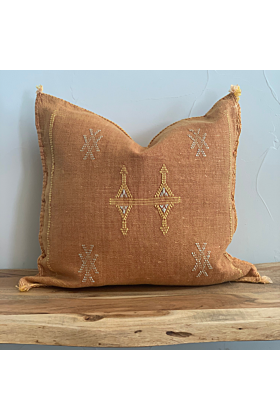 Silk Moroccan Cactus Pillow Cover in White Blue and Gold