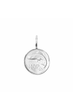 Silver Irish 10 Pence Coin Charm