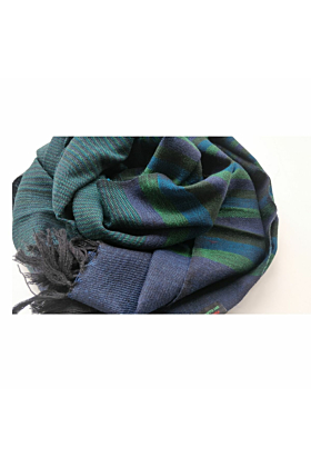 Green Thin Stripe Merino Wool Scarf