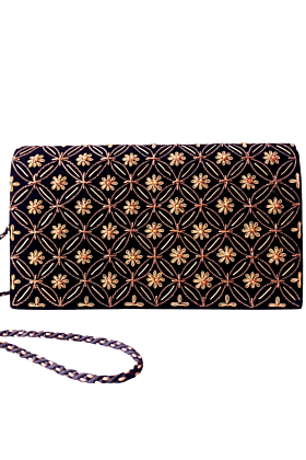 Black Velvet Embroidered Clutch Bag