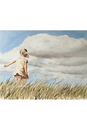 Girl In A Field Painting In Print