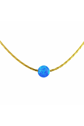 Gold Filled & Dark Blue Opal Necklace