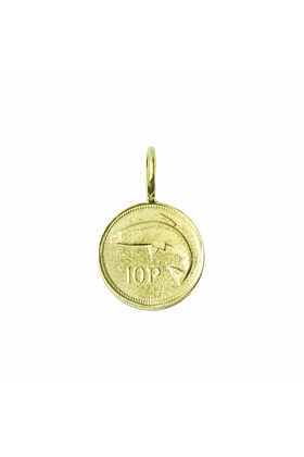 Yellow Gold Plated Irish 10 Pence Coin Charm