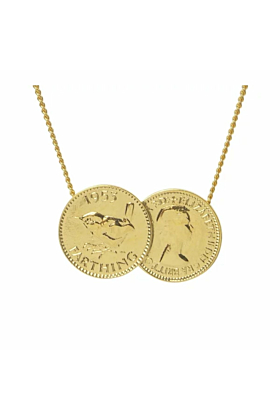 Gold Plated Double English Farthing Charm