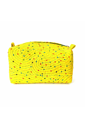 Yellow Embroidered Luxury  Pouch-  Large size