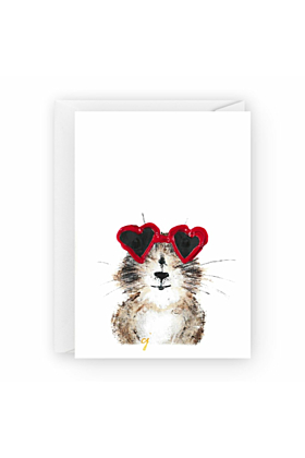 Hazel With The Heart Shades Valentines Day Greeting Card