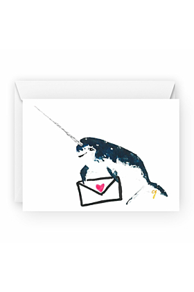 Narwhal Love Letter Valentines Day Greeting Card