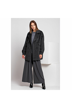 Wool Coat Gentle In Grey Mel