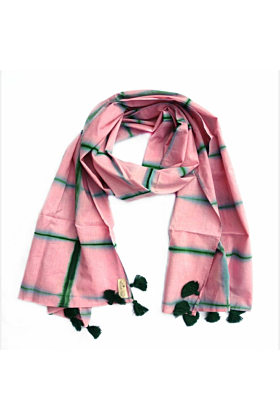Pink & Green Cotton Scarf With Pom Poms
