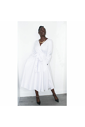 Circle Wrap White Cotton Dress